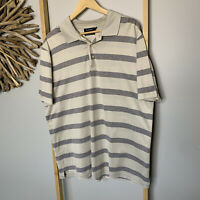 Gazman Size XL Men's Grey Beige Polo Shirt Striped Pure Egyptian Cotton  Gaz Man
