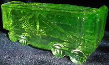 Green Vaseline glass train coal car uranium yellow canary railroad RR art boxcar