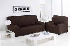 3 Seater Chocolate Easy Fit Stretch Elastic Fabric Chair Sofa Settee Slip Cover
