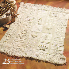 "Sampler  Afghan ~ 25 Different Squares 48"" x 48"" ~ Aran Wool Knitting Pattern"