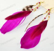 Largo Plumas Magenta púrpura grande Feather pendientes bohemium Boho Bird Gold Pl