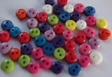 50 x 6mm Round resin buttons - 2 Hole - very tiny ideal for crafting etc.,