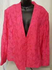 Jones New York NWT Womens Plus Pink Floral/Striped Design Sheer Blazer Size 20W