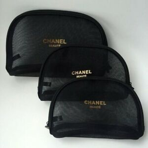 3 in 1 Beaute / Perfume Mesh Make Up Case / Tote Bag Vip Gift Black
