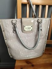 Gianni Versace Large Beige  Color Patent Leather Tote Bag Handbag