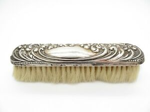 Antique Edwardian Sterling Silver Clothes Clothing Brush, Repousse Scrolls 1903