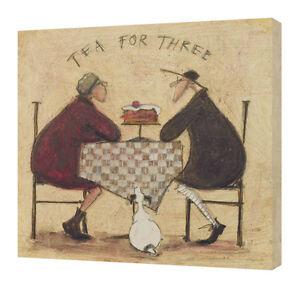 Sam Toft - Tea For Three 2 - 40 x 40cm Canvas Print Wall Art WDC95098