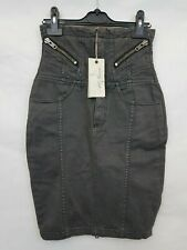 Allsaints DAMEN DENIM PENCIL Rock High Waist grau Größe 6 NEU mit Etikett 02