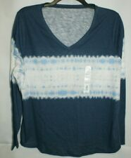 SIZE 1X Womens SONOMA Tye Dye Long Sleeve Knot Top Shirt Blue Tshirt NWT