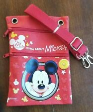 Disney It's All About Mickey Canvas Red Crossbody Shoulder Bag Passport Purse