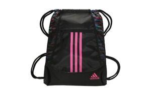 Adidas Alliance II Sackpack Drawstring Gym Bag Backpack Black with Pink