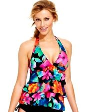 Caribbean Joe Floral Printed Ruffled Tankini Swimsuit Top Multi Color Size 8