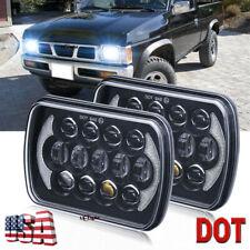 """Pair 7x6"""" 5x7 inch 105W LED Headlights Hi-Lo DRL for Toyota Nissan Pickup Trucks"""