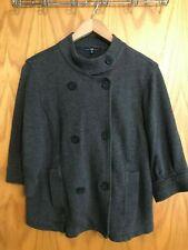 Gap Woman's Sweatshirt Fleece Double Breasted Jacket Size M Charcoal Gray