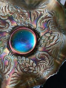FENTON CARNIVAL GLASS c.1910 PINECONE Green BOWL ANTIQUE