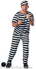 Mens Adult Mans Convict Prisoner Halloween Party Fancy Dress Costume Outfit