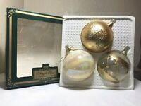 "Kringle Glass Christmas Ornaments Kurt S Adler 3 Gold Glitter Large 10"" Ball IOB"