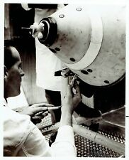 1964 Original Photo Nasa worker check Project Fire spacecraft before test flight
