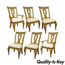 Gentil Set Of 6 Decorator Mediterranean Tuscany Style Oak Wood Dining Arm Side  Chairs