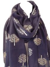 Ladies Silver Mulberry Tree of Life Metallic Foil NAVY BLUE 100% Cotton Scarf
