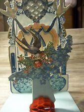 vintage valentine large card die cut fold out fan fold beautiful blue Germany