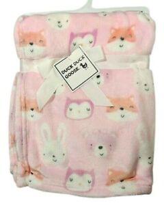 NWT Pink FOX Owl Bunny Baby Girl Blanket Lovey SOFT Fleece 30x40 Animals Plush