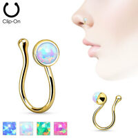 Opal Gem Gold IP Non-Piercing Clip On Nose Ring Clip