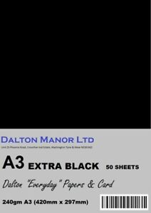 DALTON MANOR A3 EXTRA BLACK CARD 240gm  DOUBLE SIDED CHOICE OF PACK SIZES