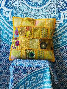 Indian Patchwork Embroidered Cushion Cover Throw Handmade Pillow Case