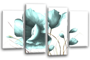 """FLORAL CANVAS ART DUCK EGG WHITE FLOWER LOVE PAINTING 4 WALL PANELS 44 X 27"""""""