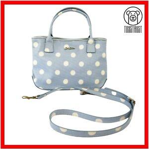Cath Kidston Embossed Mini Tote Button Spot Hand Bag Polka Dot Light Blue B9