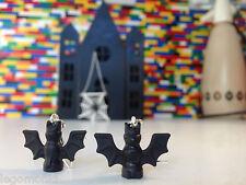 Handmade MonkiStuff Bat Earrings Black/Silver made using LEGO® Bricks Halloween