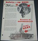Vintage Mack Type 85 Aerial Ladder Truck Illustrated Foldout Ad brochure
