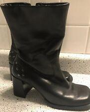 Harley Davison Womens Sz 6.5 US Biker Rider Black Leather Side Zip Boots 81365
