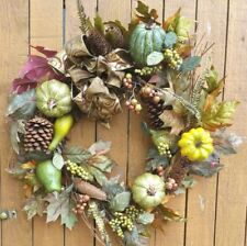 "21""  Fall Wreath with faux Pheasant Feathers Gourds Pumpkins Pine Cones"