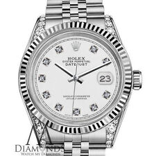 Rolex 31mm Datejust 18K White Gold Bezel Diamond Face Shoulders Stainless Steel