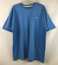 Vintage 90s NIKE Embroidered Check Blue T-Shirt ~ Size XL