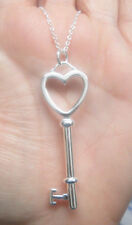 Silver Key Necklace with Heart on Top