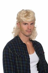 Curly 80's Hillbilly Rocker Mullet Man Hair Wig Adult Mens Costume Accessory