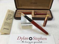 Parker 75 orange lacquer fountain pen, ballpoint set + box