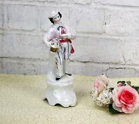 Antique Vintage Flower Salesman Venice Porcelain  Figurine Italy 1 Flower Vase