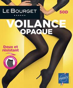 """Le Bourget """"Voilance Opaque"""" 50 Denier STW Tights Pantyhose - X-Large - Black"""