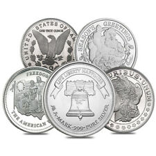 Lot of 5 - 1 oz Silver Generic Rounds .999 Fine
