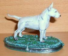 """PEWTER HAND PAINTED  MINIATURE FIGURINE OF """"BULL TERRIER ON A RUG"""" DOG"""