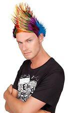 Perruque multicolore avec crête pointe jaune et rouge type punk mike 863485 fete