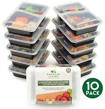 | 10 pack | 2 compartiment repas prep contenants de nourriture bento box tupperware set wi...