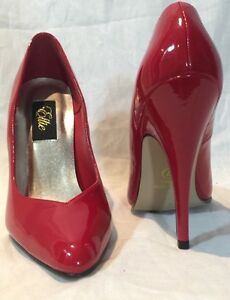 "NEW ELLIE PLEASER RED PATENT 5"" STILETTOS PUMPS SIZE 7M STYLE 8220"