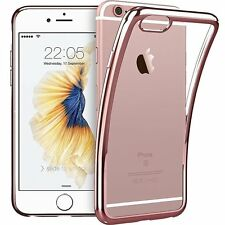 For iPhone 7 Case Crystal Clear Cover+Tempered Glass Screen Protector Rose Gold
