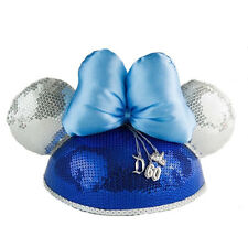 Disneyland 60th Diamond Anniversary Minnie Mouse Sequin Hat w/ Ears, Bow, Charms