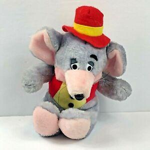 "Vintage 1980s Chuckie Cheese Plush Clean Stuffed Animal Vest Hat 8"""